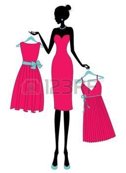 2634c849aa maniquies  Ilustración de una mujer joven de compras para un vestido  elegante.
