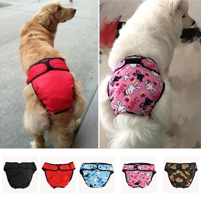 8Colors Washable And Reusable Large Feamle Dog Diapers Cartoon Puppy Under Pants