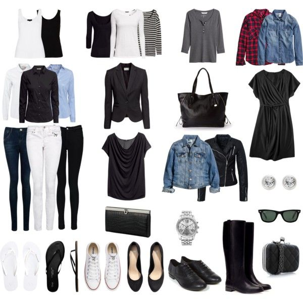 The perfect basic wardrobe. Add some colour and paterns and you are done.
