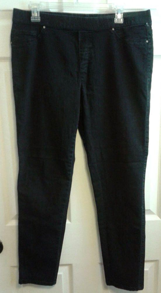 efa04b15efc7f Faded Glory Black Skinny Jeans Pull On Elastic Waist Comfort Jegging 14 # FadedGlory #SlimSkinny