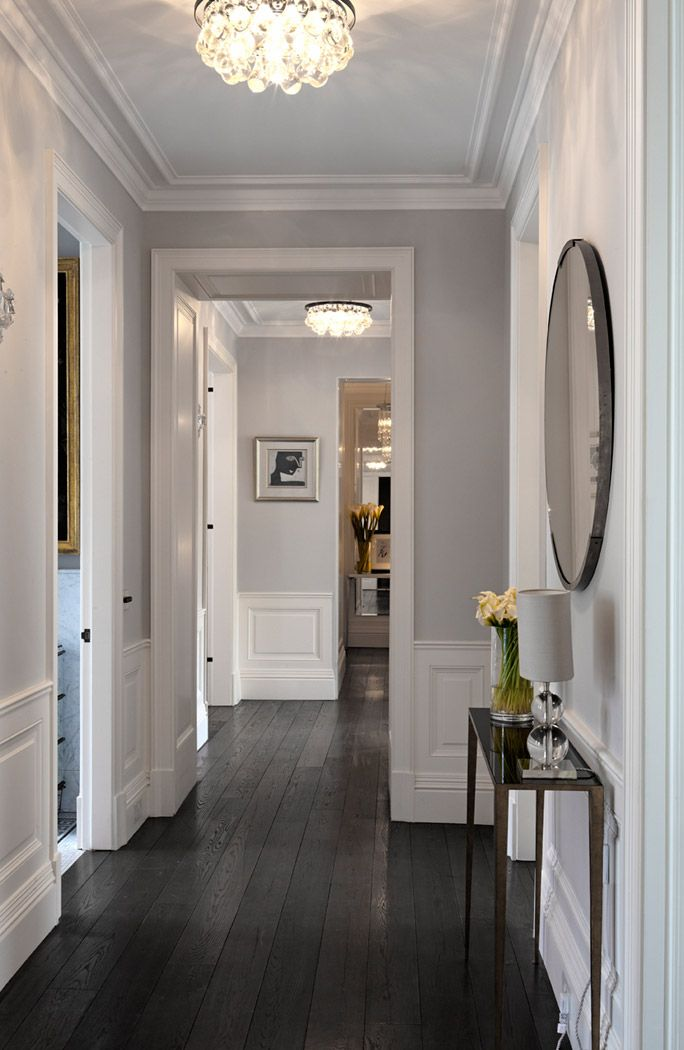 Love These Dark Wood Floors White Wainscoting And Gray