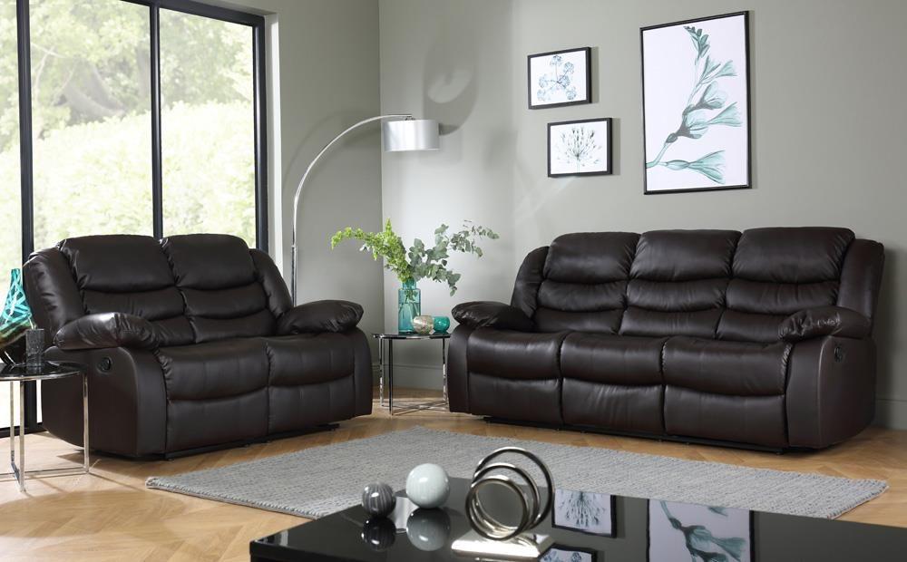 Terrific Sorrento Brown Leather 3 2 Seater Recliner Sofa Set Dailytribune Chair Design For Home Dailytribuneorg