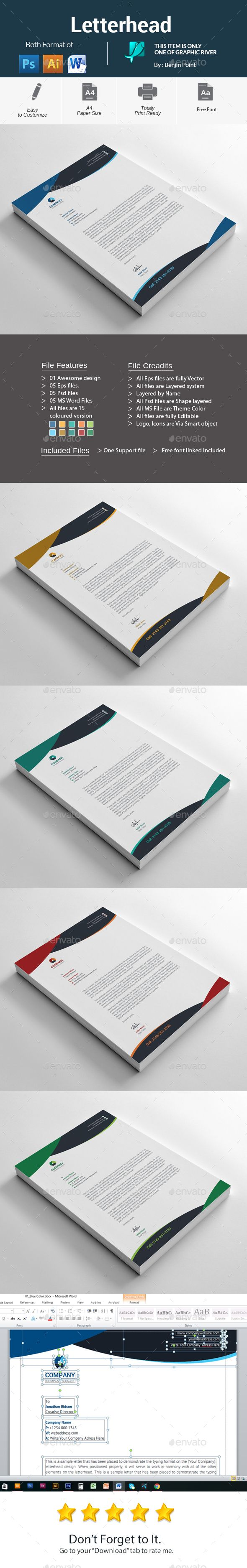 Letterhead Template PSD Vector EPS AI MS