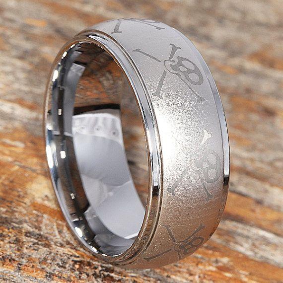 9mm Skull And Crossbones Wedding Band Tungsten Ring Mens