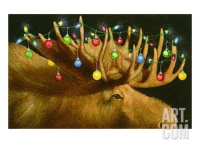 Another Xmas Moose Giclee Print by Will Bullas at Art.com