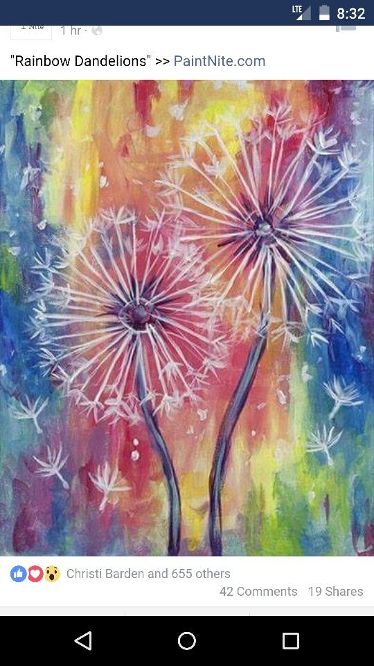 Pin By Elizabeth On Art Rainbow Painting Dandelion Painting