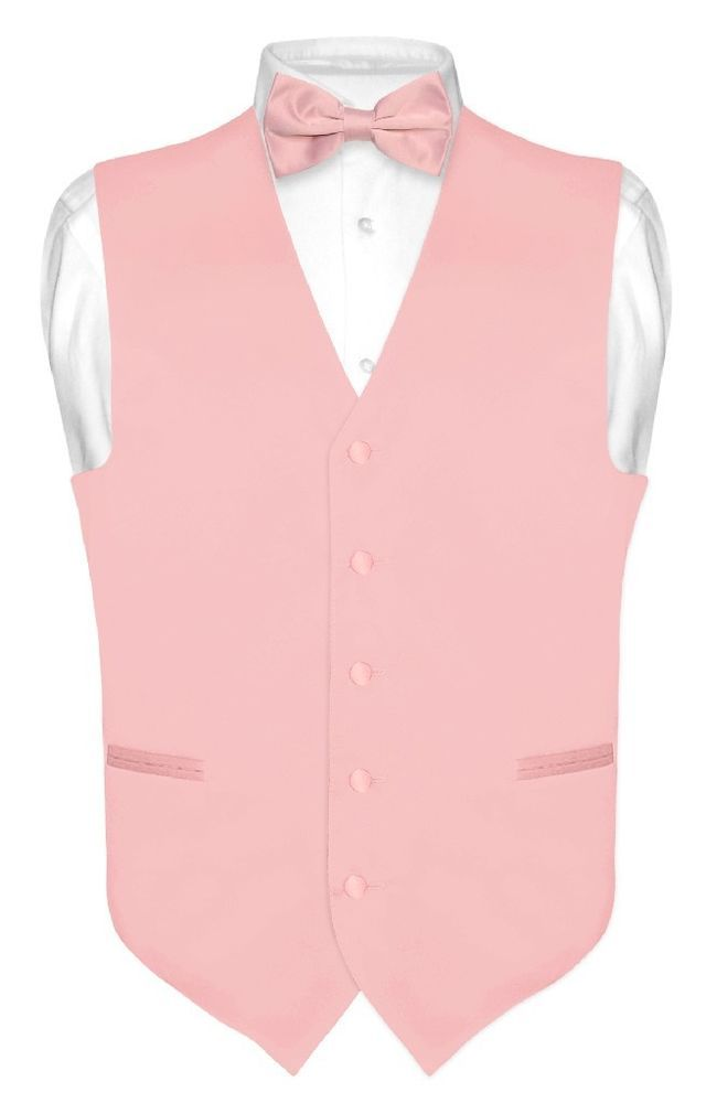 0e93166469d7 Men s Dress Vest BOWTie Hanky BLUSH DUSTY PINK Bow Tie Set for Suit or  Tuxedo