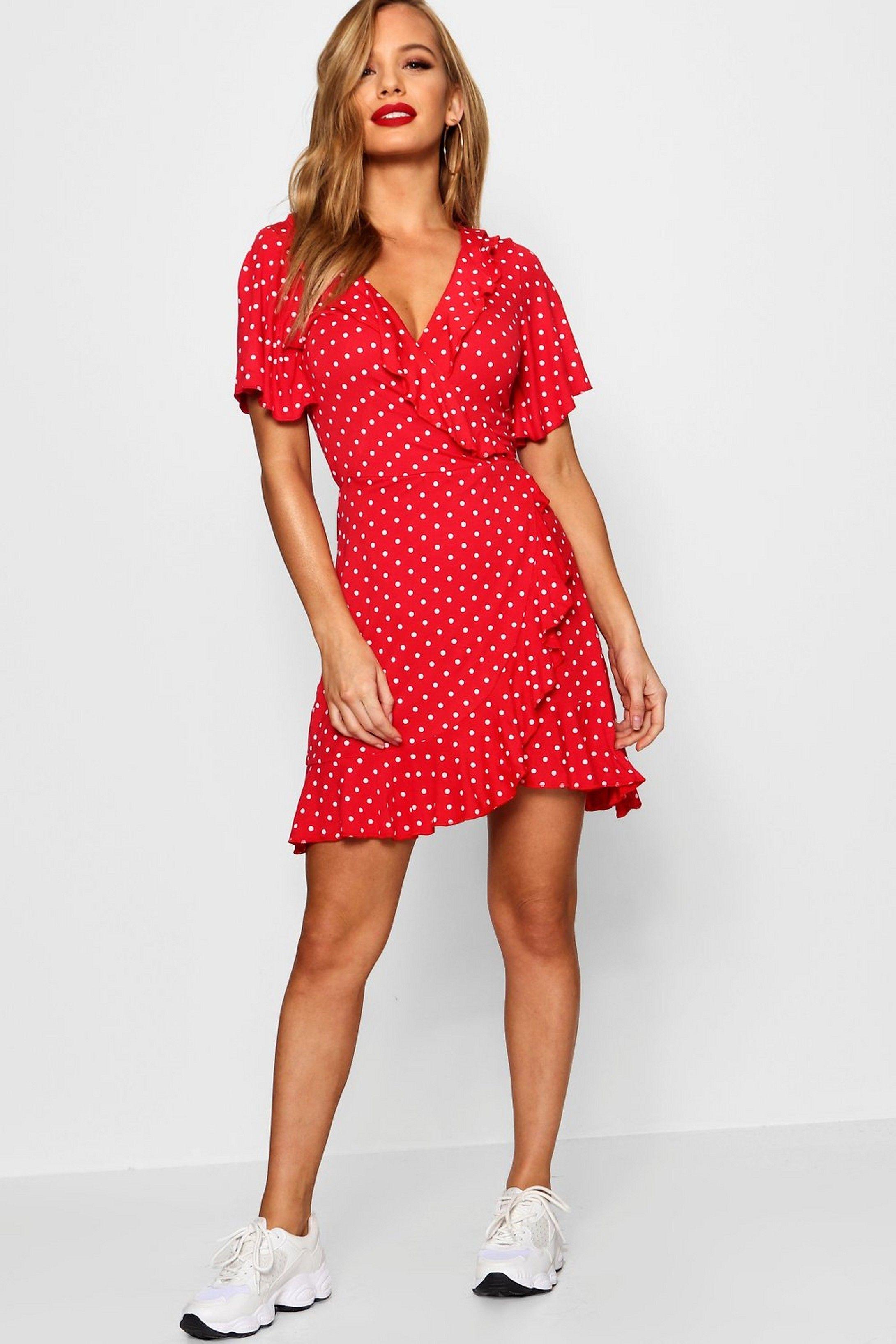 Petite Polka Dot Ruffle Wrap Tea Dress Boohoo Petite Dresses Tea Dress Petite Outfits