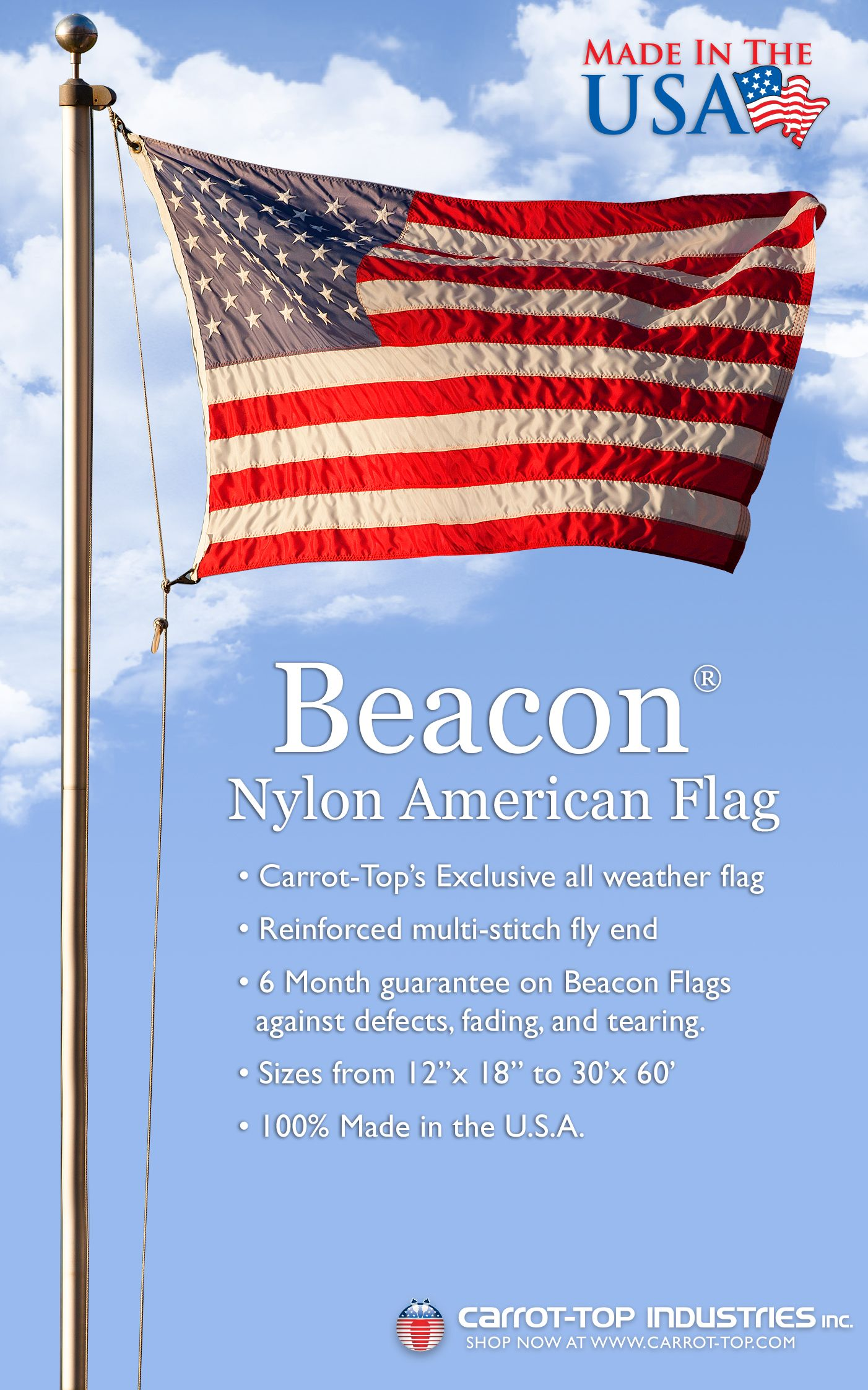 Made in the usa durable all weather nylon beacon american flag made in the usa durable all weather nylon beacon american flag publicscrutiny Choice Image