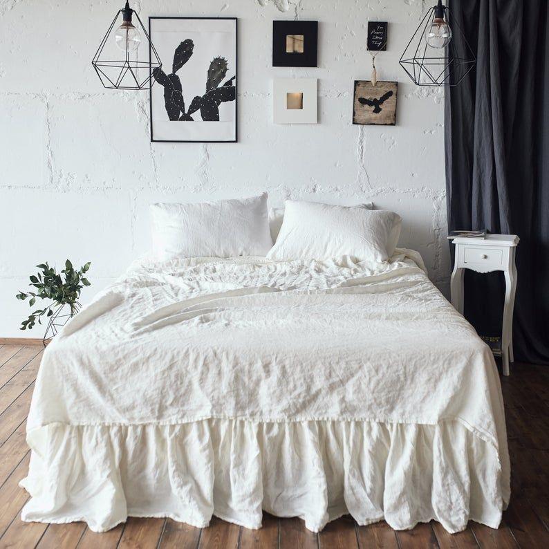 Linen Sheet Set Fitted Sheet Flat Sheet 2 Pillow Cases Etsy Linen Sheet Sets King Bed Sheets Bed Sheet Sets