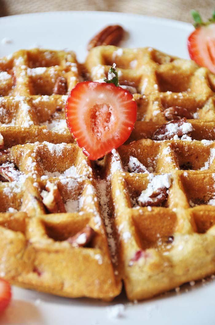 Vegan Strawberry Pecan Waffles Recipe Waffle Recipes Vegan Waffles Food