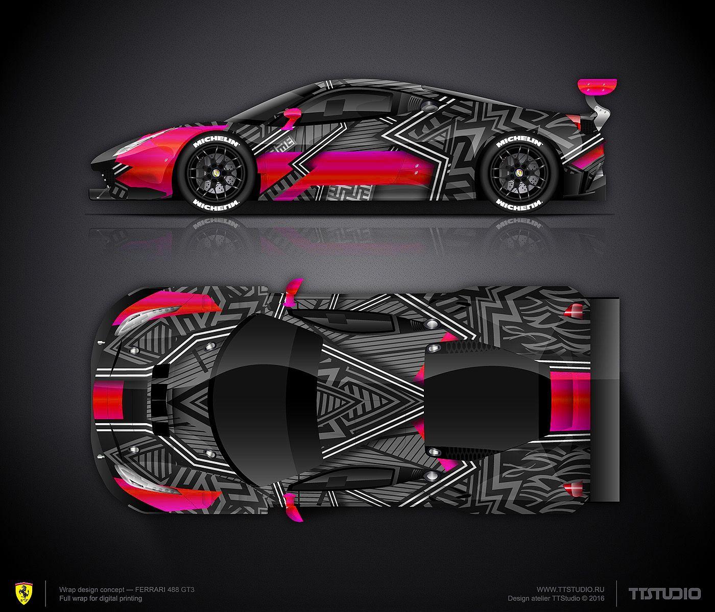 Car body sticker design for sale - Wrap Design Concept Art Car For Ferrari F488 Gt3 For Sale