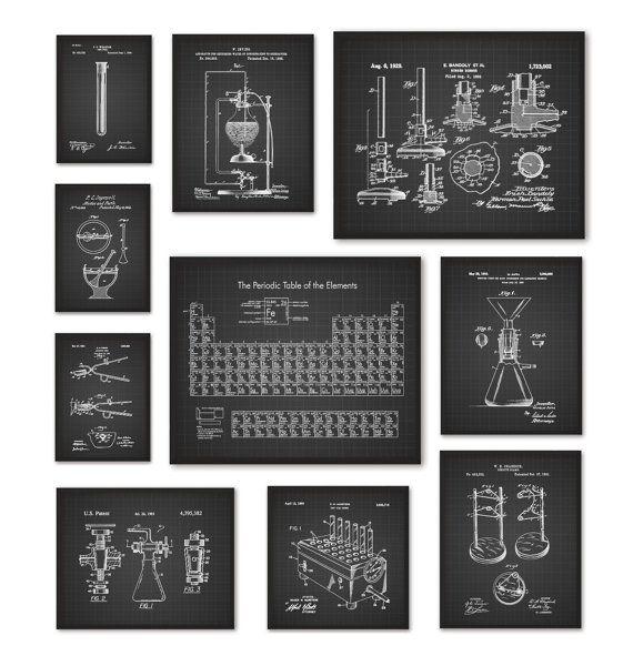 chemistry art print set of 10 periodic table of elements vintage chemistry - Periodic Table Of Elements Vintage