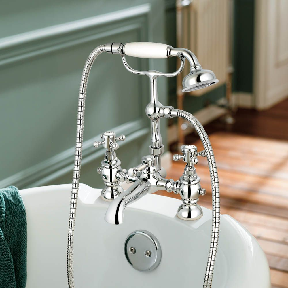 Victoria II Bath Shower Mixer Traditional Tap with Hand Held Shower ...