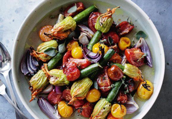 Roast stuffed zucchini flowers with tomato & oregano