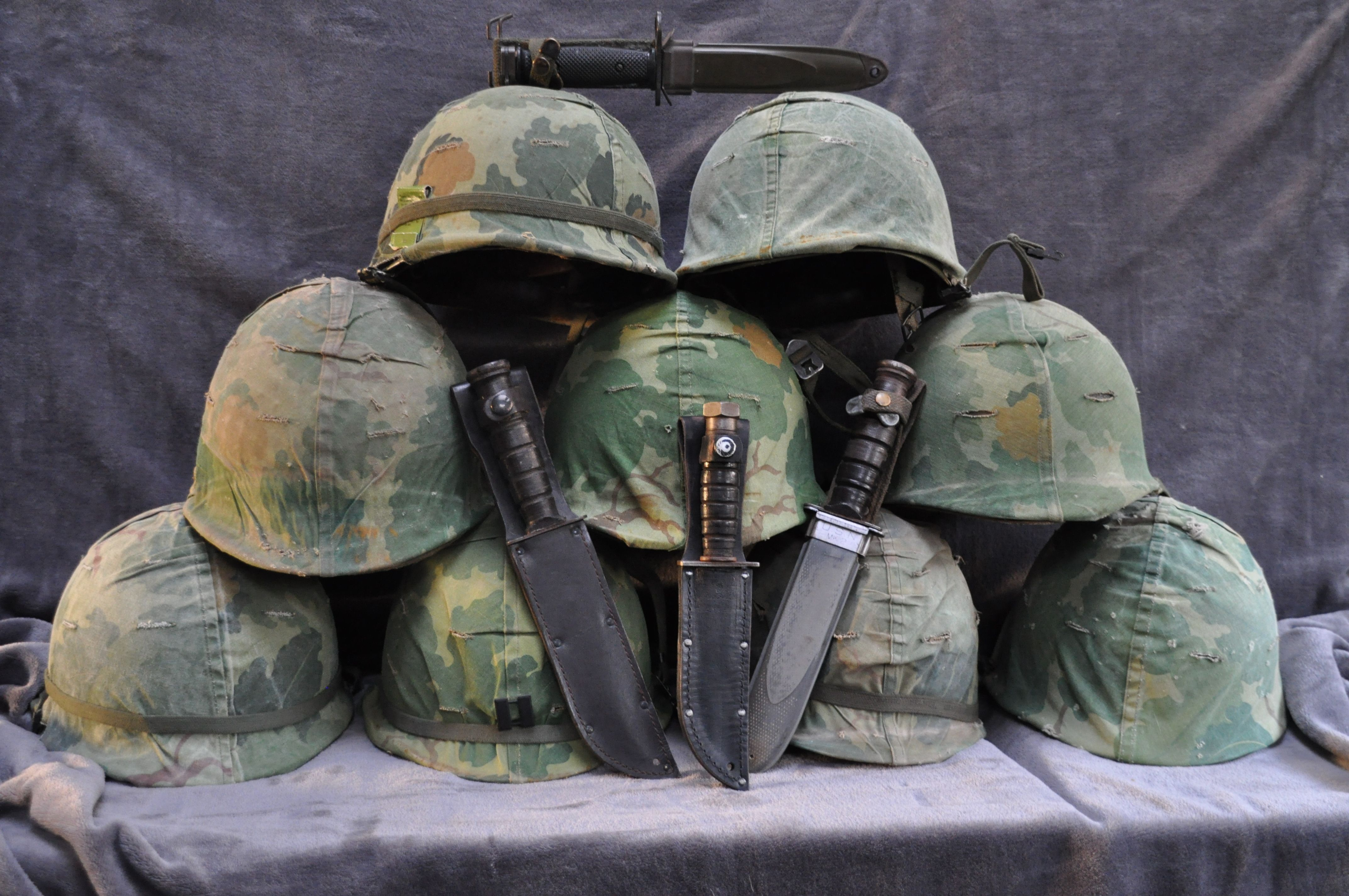 All M1 Helmets From The Vietnam War Also A Few Camillus