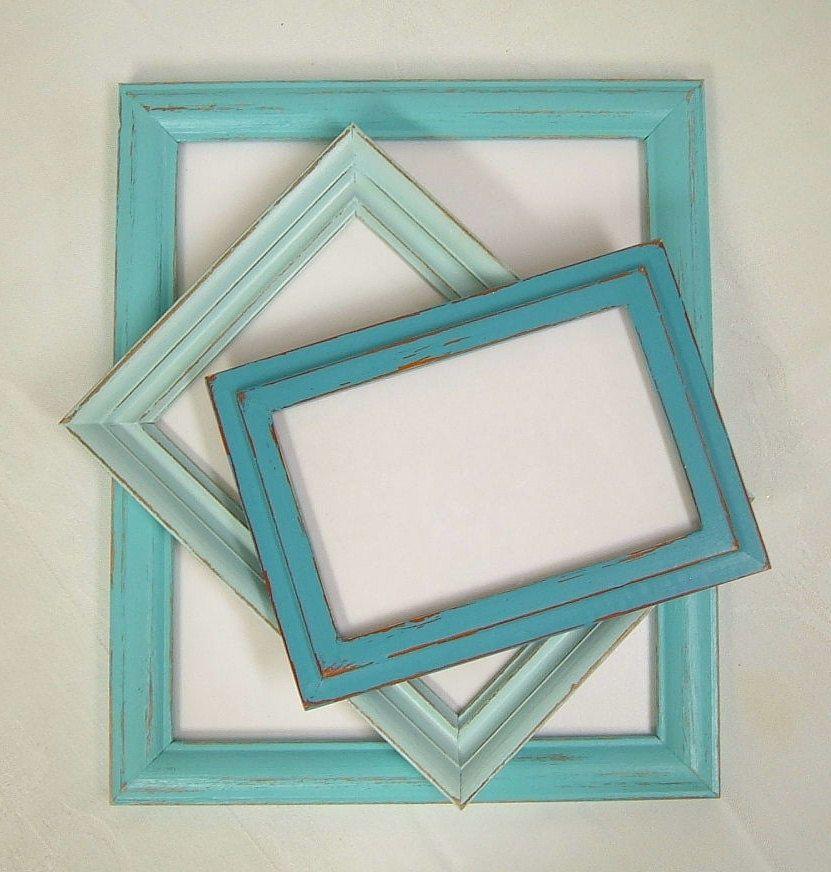 Shabby Chic Picture Frames Set Aqua Turquoise Shabby Chic Home Decor ...