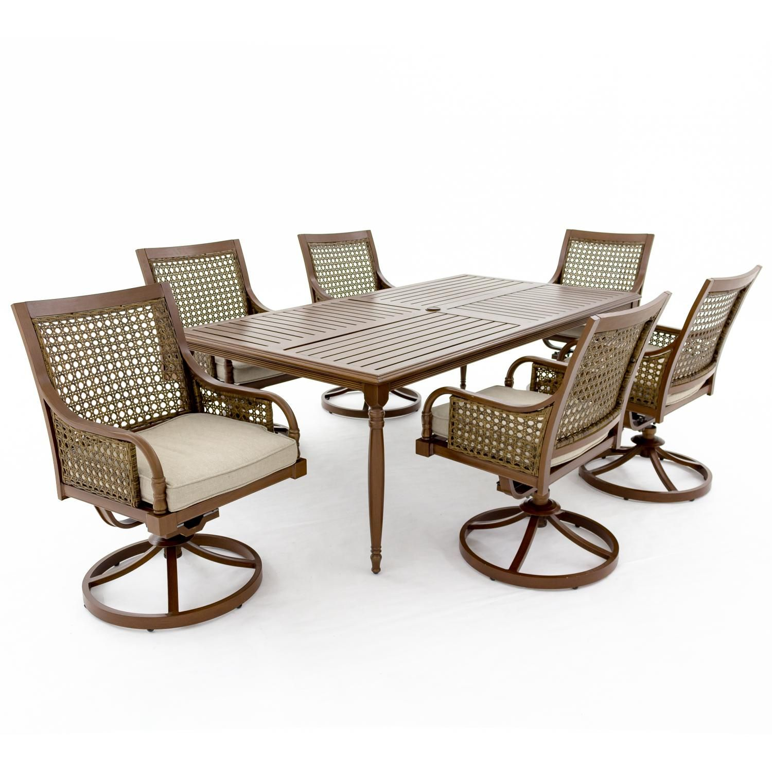 7 piece patio dining set featuring swivel chairs with Sunbrella