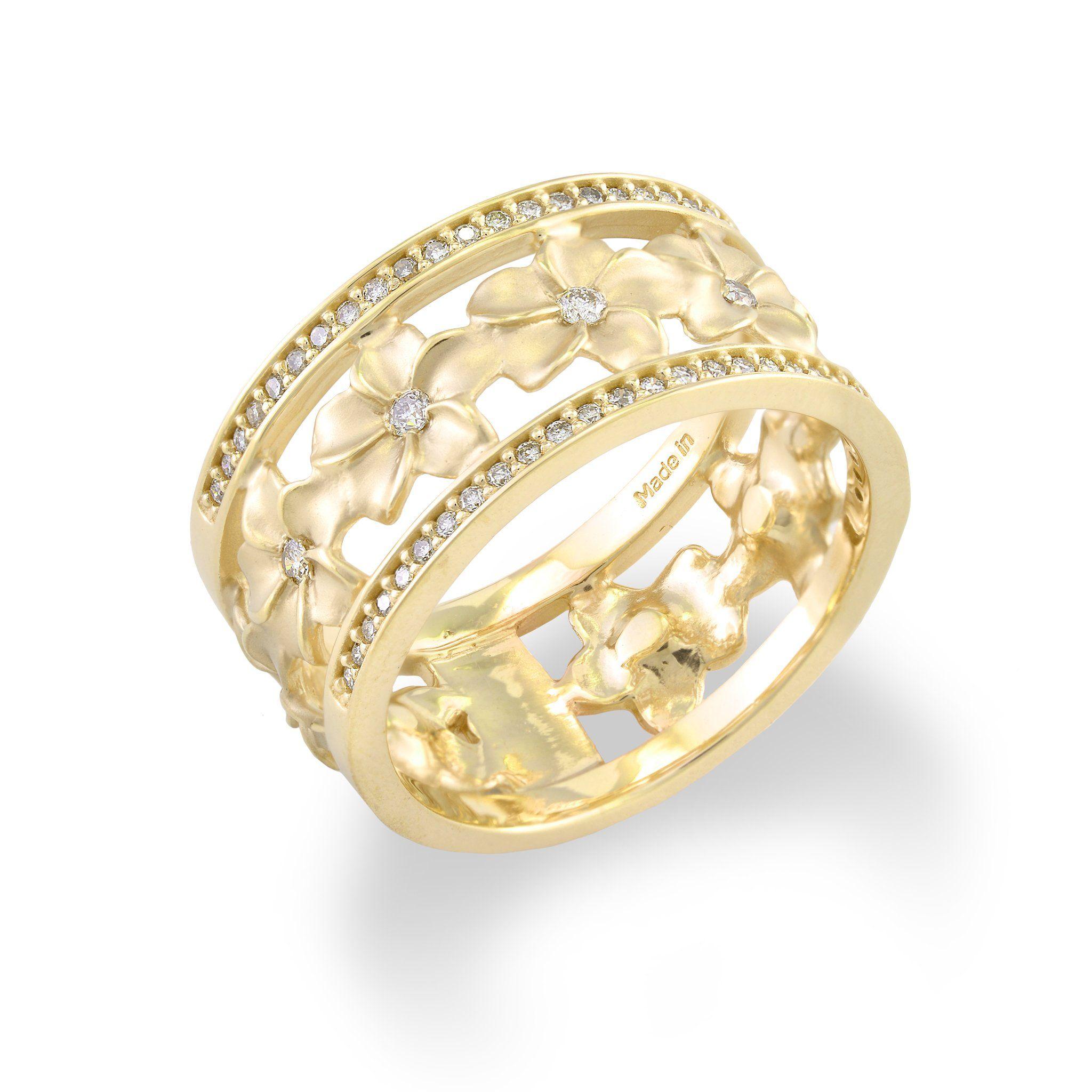 Hawaiian Ring Gold Hawaiian Heirloom Band Ring Floral Ring