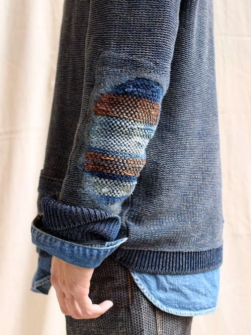 Beautiful repair elbow patch sweater weaving Выткать