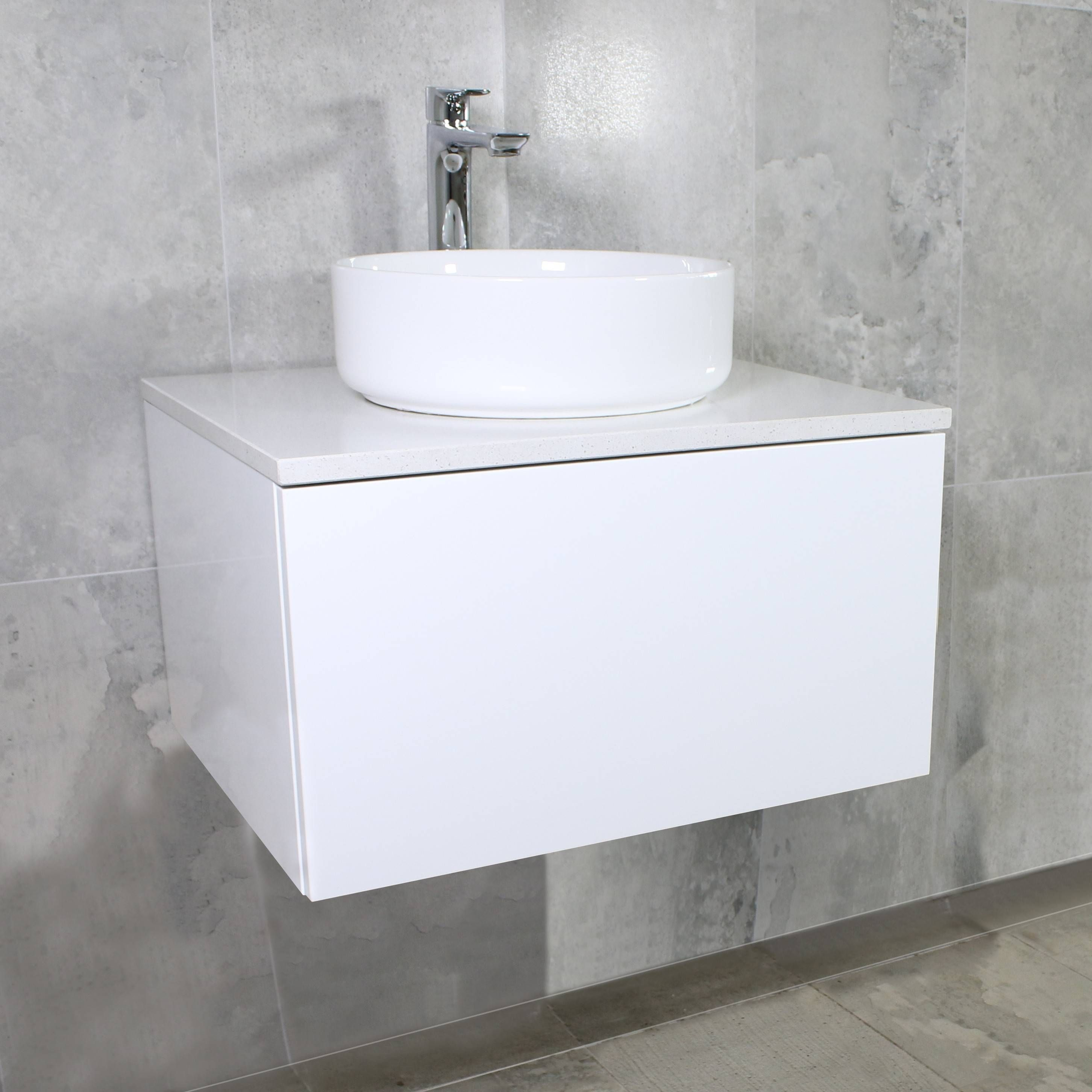 600mm Bathroom Vanity New Eden Matte White Wall Mount Vanity
