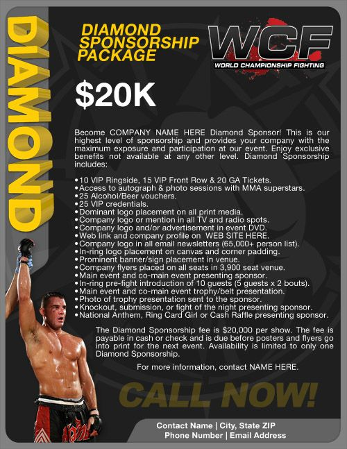 Sponsorship Packages Actionfight Com Sponsorship Package Sponsorship Proposal Sponsorship