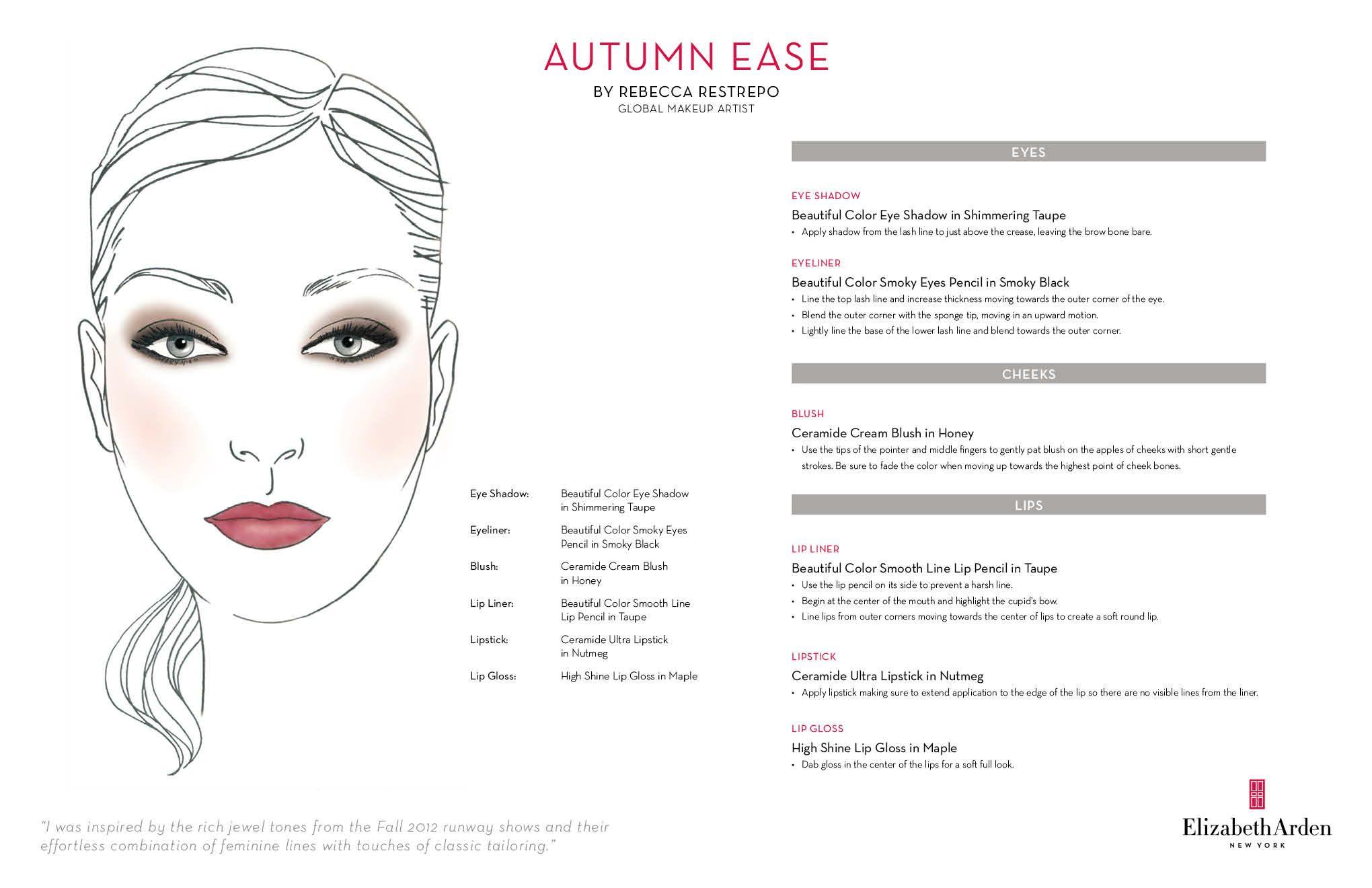 Elizabeth Arden's Autumn Ease Face Chart Face chart