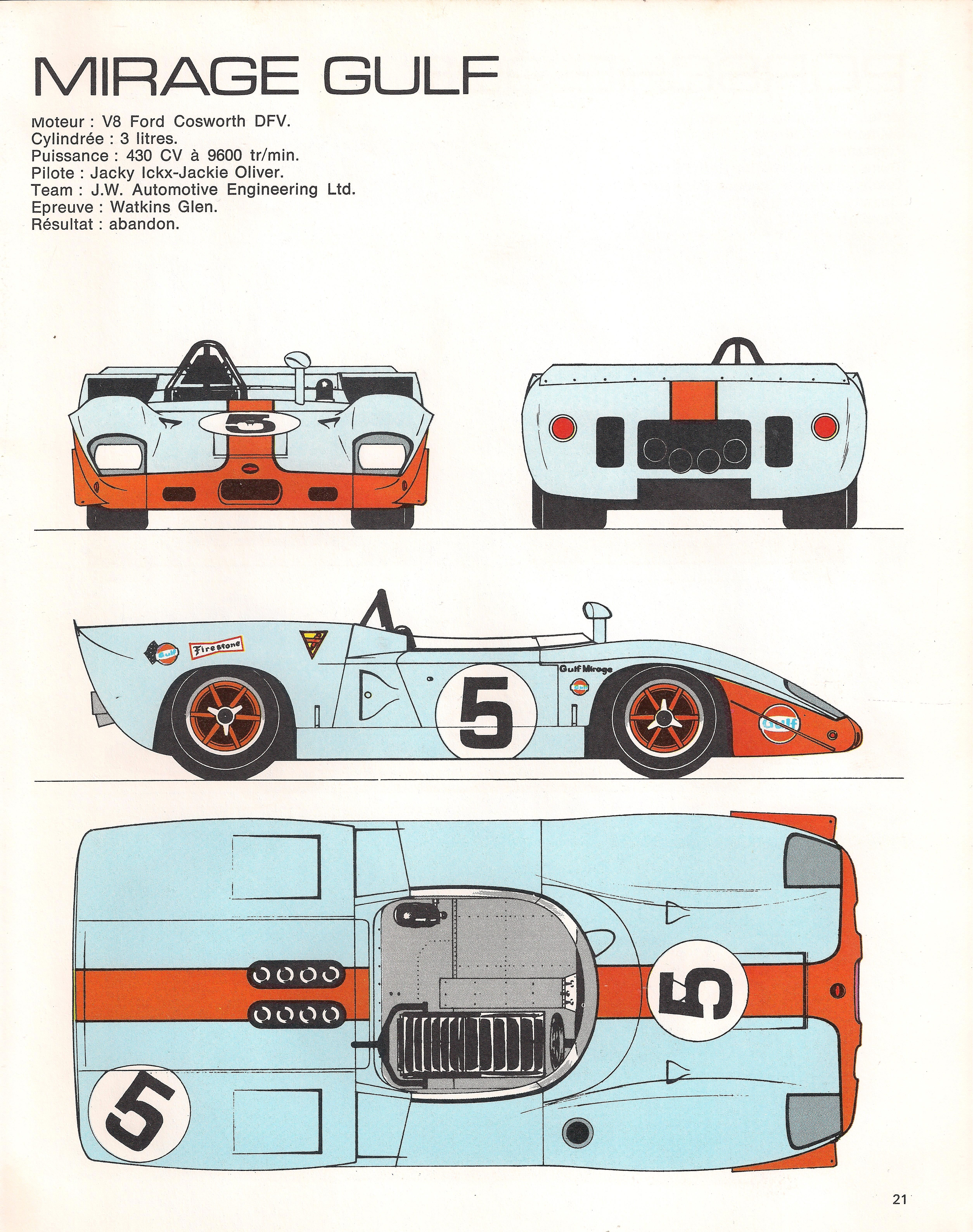 MIRAGE GULF M1 1969 RACING CARS IN PROFILE Pinterest