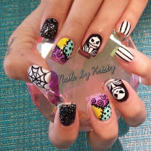 Halloween acrylic nails nail art nightmare before Christmas | Body ...