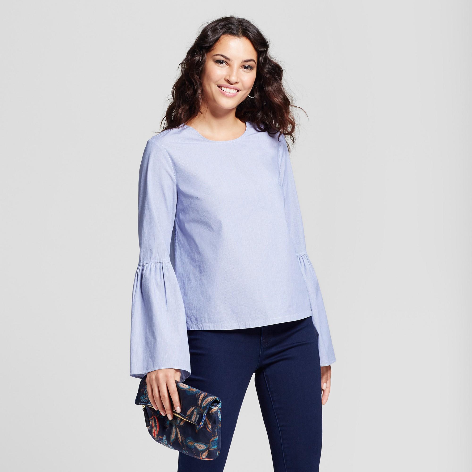 086761ca33 Women s Striped Bell Sleeve Poplin Top - A New Day Light Blue XL ...
