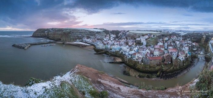 Staithes Village In The Snow At Sunrise – Panoramic