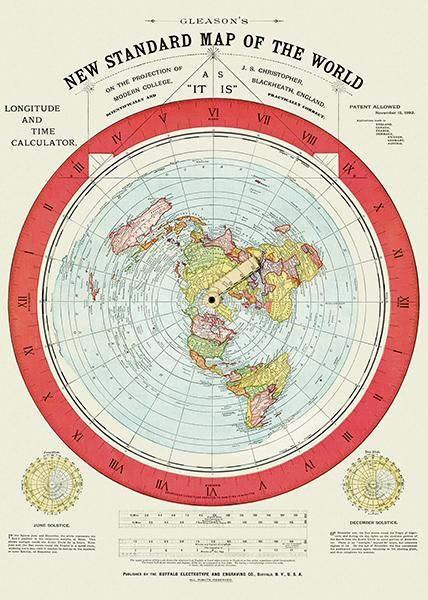 1892   Flat Earth Map   Gleason's New Standard Map Of The World