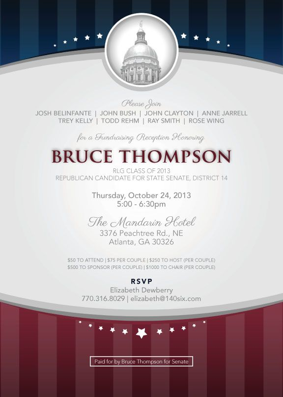 Political fundraiser invitations | An invitation to a fundraising ...