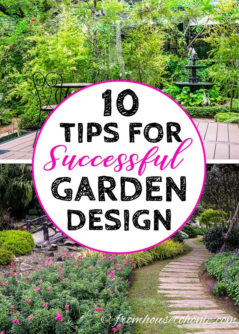 I LOVE these tips on creating a successful garden design. My backyard really needs some landscape design and I'm a DIY gal. I'm going to use these ideas to make a beautiful perennial flower shade garden in my yard. #fromhousetohome #gardendesign #gardening #gardeningtips #landscapedesign #gardenideas