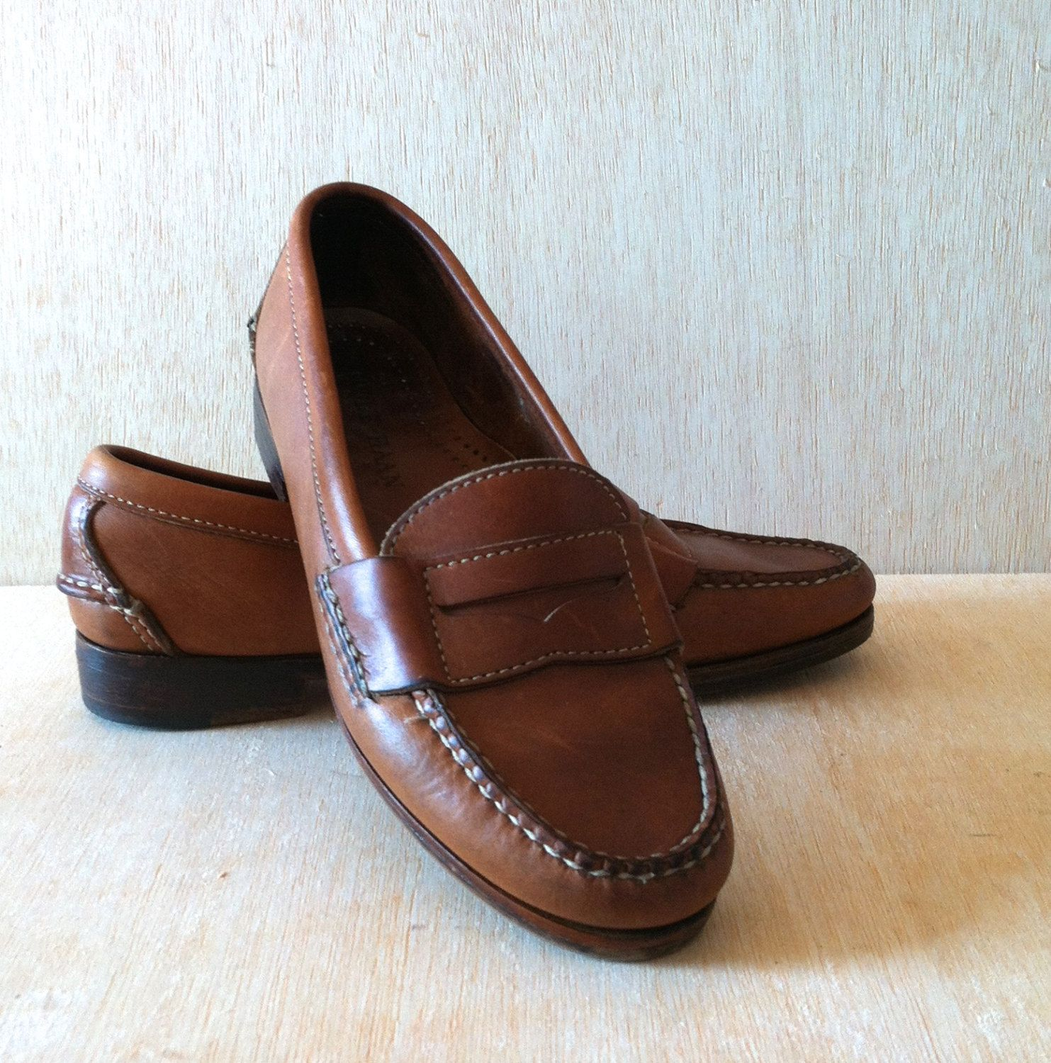 Vintage 1980s Preppy Cole Haan Cognac Brown Leather Penny Loafer Oxford  Womens Size 6 by ForestaVintage