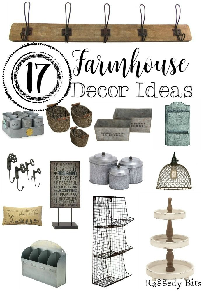 A collection of 17 Farmhouse Decor Ideas that I have put together for my inspiration board, while I am give my house a little bit of a Farmhouse spruce up.
