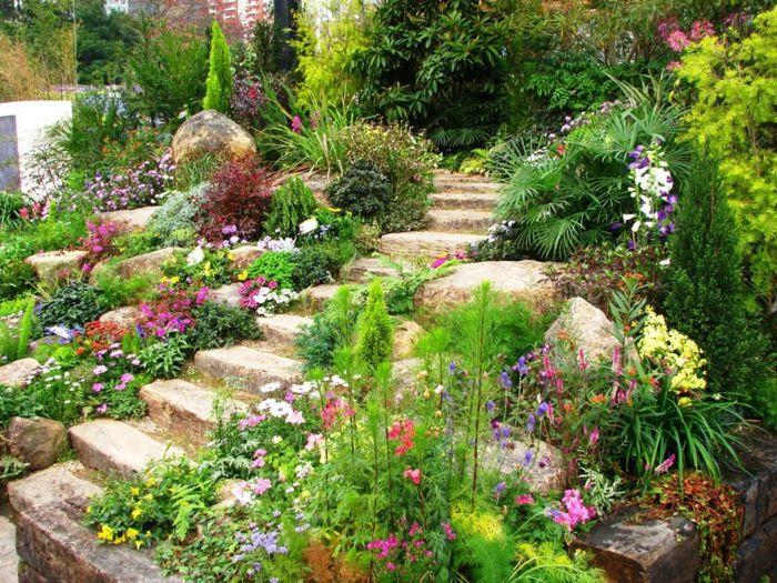 pflegeleichter Gartenpflanzen bunte Blumen und Treppen aus Steinen ...