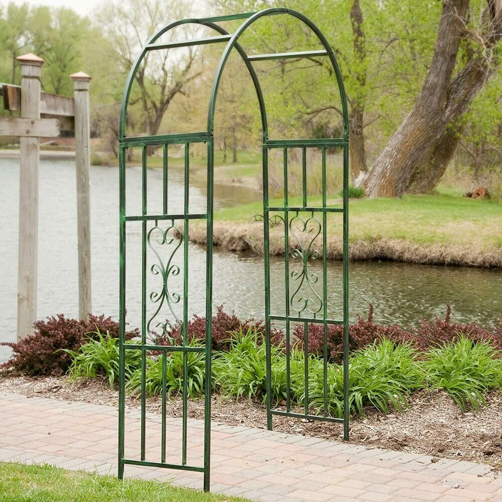 Garden Arch Iron Arched Arbor Trellis Plant Support Outdoor Gate