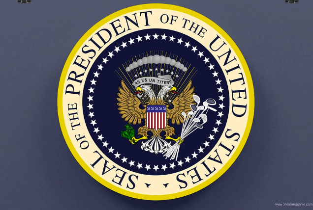 Here S The Apparent Source Of The Parody Potus Seal That Displayed At The Tpusa Event Https One Term Donnie Myshopify Fake Images Presidential Seal Parody