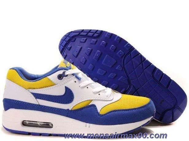 sports shoes 60cb8 11017 Mens Nike Air Max 1 308866-141 White Academy Blue Zest Online
