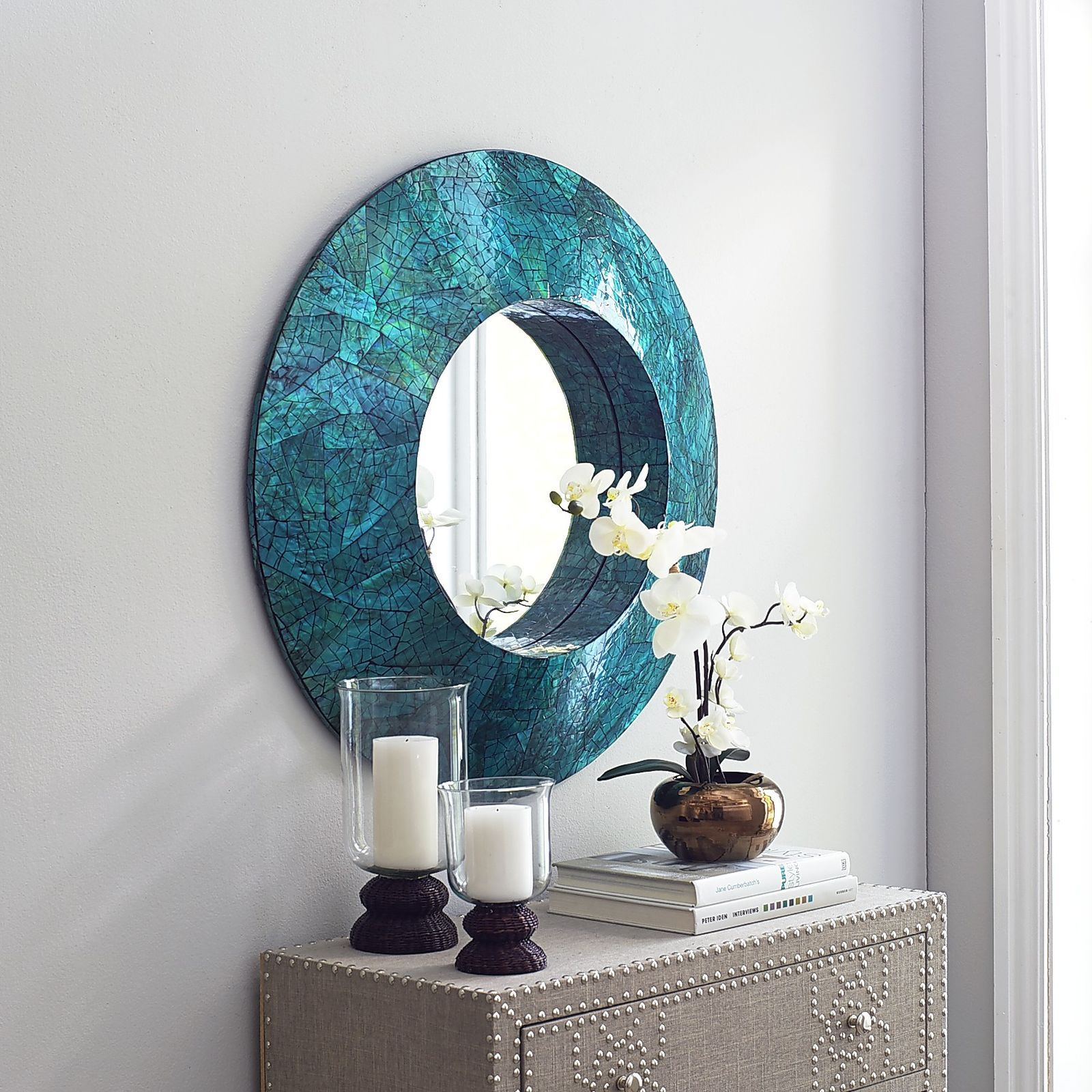 """Home Decor Imports: Green Mother-of-Pearl 32"""" Round Mirror"""