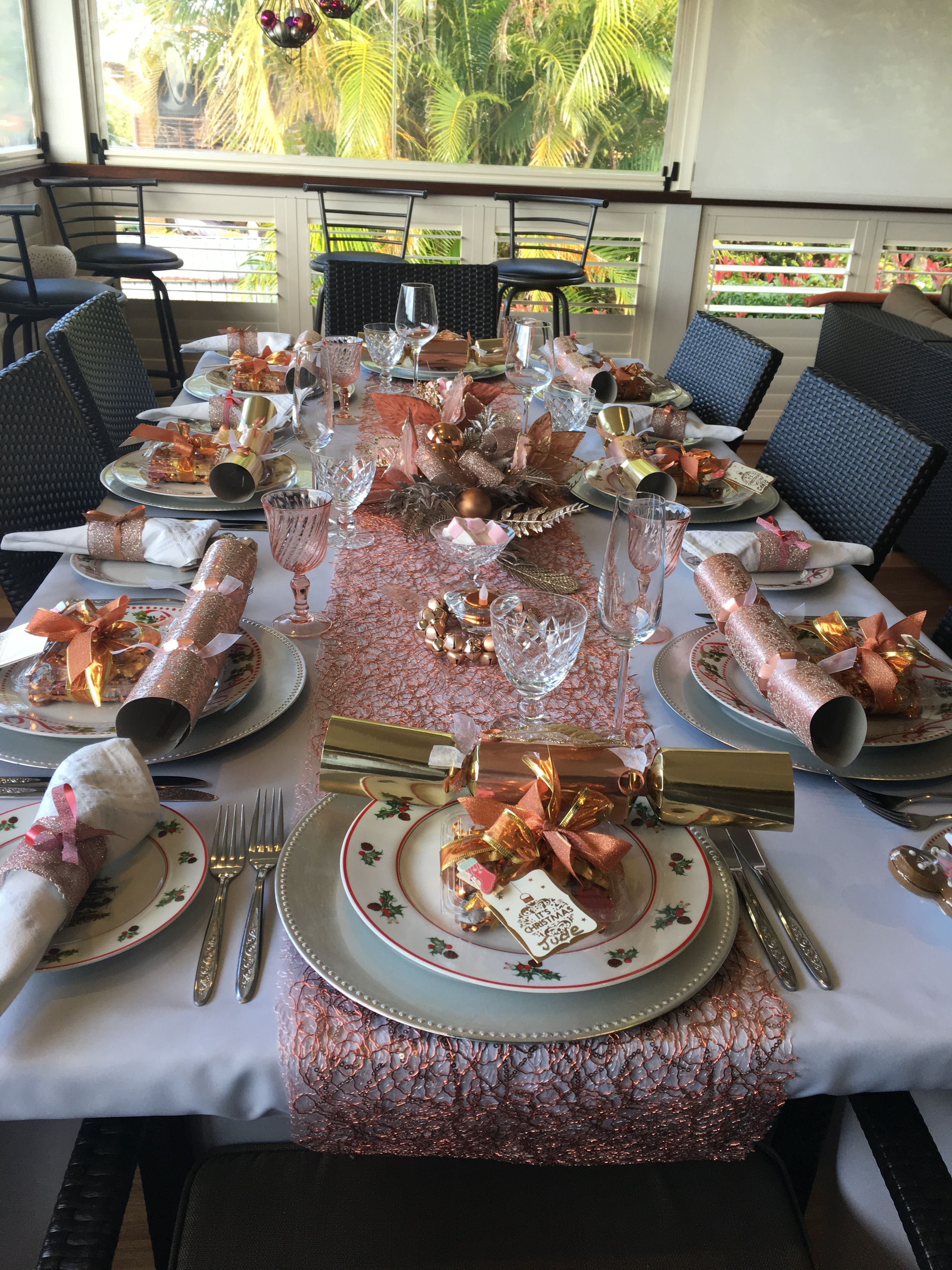 Table Setting Decorated For Christmas In Rose Gold Rose Gold Christmas Rose Gold Christmas Table Gold Christmas Decorations Table