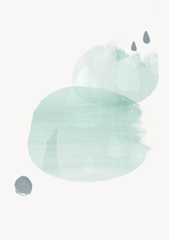 Modern Minimalist Art - Abstract Art, Soft Pale Green Painting with Raindrops, Circle Shapes 8x10 by AMMIKI on Etsy