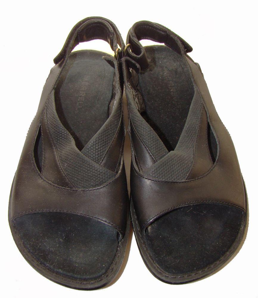 Merrell leather sandals tetra slingback black sz adjustable strap