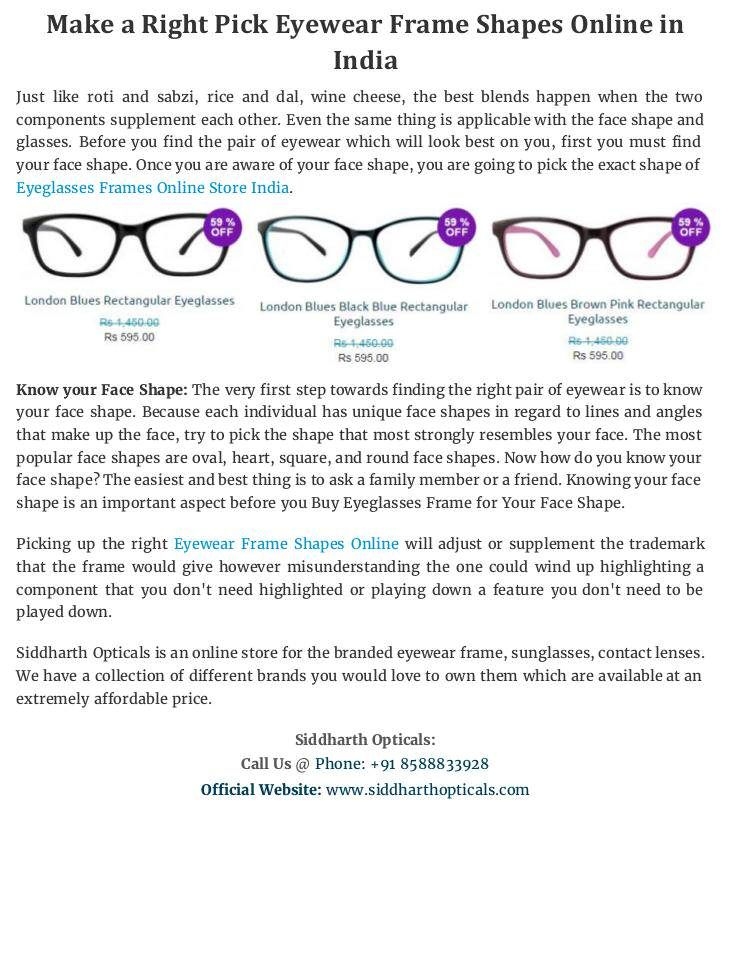 Siddharth Opticals is an online store for the branded eyewear frame ...