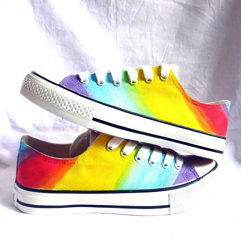 Low Top Lace-Up Rainbow Shoes from PrideDesignz