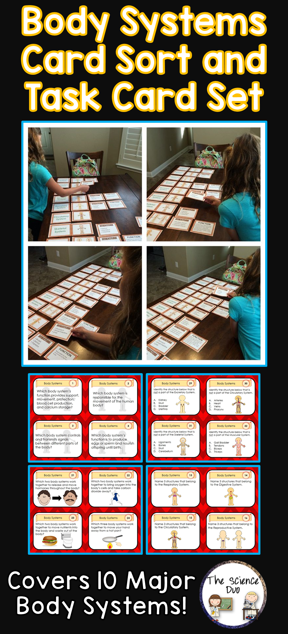 Body Systems Task Cards and Card Sort Distance Learning