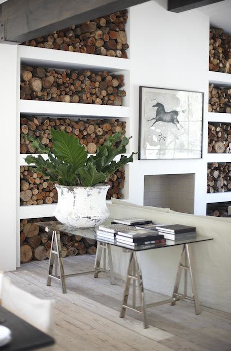 decorating with wood...instead of those dumb looking built-ins flanking the fplace on our plans...this is purrfectt