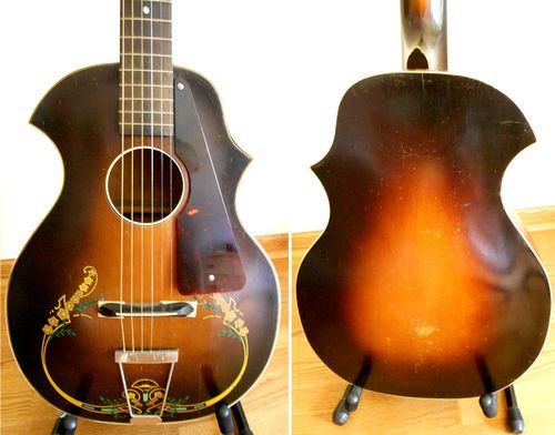 details about 1950s silvertone harmony model 1350 archtop electric guitar sunburst as is parts. Black Bedroom Furniture Sets. Home Design Ideas