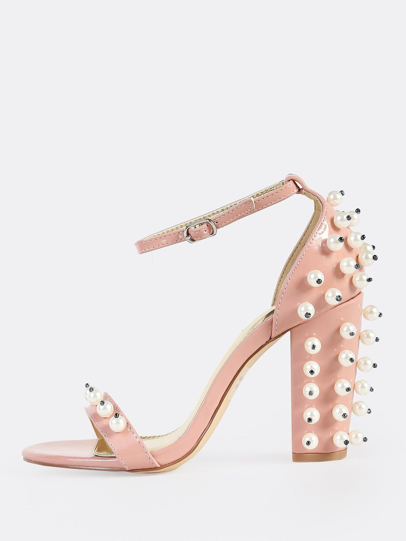 11c87951d Elegant Peep Toe Ankle strap Pink High Heel Chunky Embellished Pearl Ankle  Strap Heels DUSTY PINK